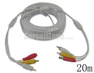 20m Video Audio Power RCA Extension CCTV Cable(white)