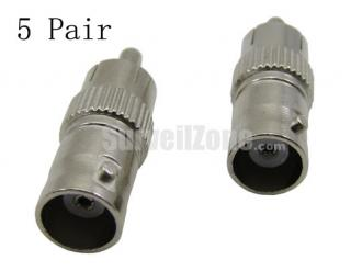 BNC Female to RCA Male Connector Adapter(5 Pair)