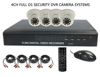 4CH Security System w/D1 H.264 DVR & 4X 600TVL Indoor IR Dome Camera