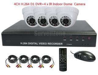 4CH Full D1 H.264 Network DVR with 4X Indoor IR Dome Camera System