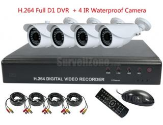 4CH D1 H.264 DVR 4X Weatherproof IR 25m Camera Security System