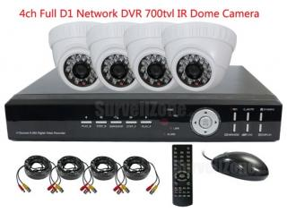 4CH H.264 Network Full D1 DVR & 4X700tvl Indoor IR Dome Camera CCTV System