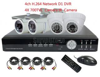 4CH D1 Network DVR & 2 Indoor 2 Outdoor 700TVL IR Camera CCTV System