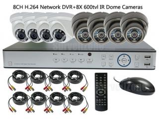 4x Waterproof & 4x Indoor IR Dome Camera with 8CH Real-time DVR System