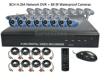 8CH Real Time H.264 Network DVR & 8X Outdoor IR Camera CCTV System