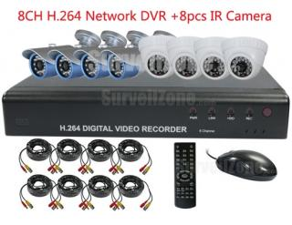 8CH real time H.264 Network DVR with 8X CCTV IR Camera Security Combo