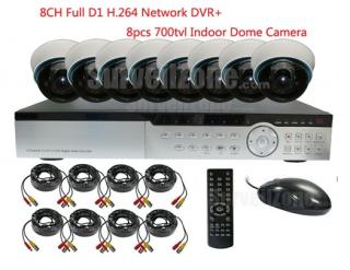 8CH Full D1 H.264 Network DVR & 8X Indoor 700tvl Dome Cameras System