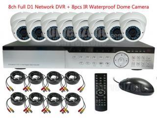 8CH D1 AV H.264 Network DVR & 8X 700TVL Outdoor IR Camera CCTV System