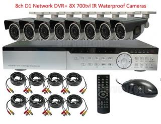8CH Full D1 H.264 Network DVR with 8X Outdoor 700tvl IR Waterproof Camera System