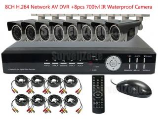 8CH H.264 Network DVR with 8X Outdoor 700tvl IR Waterproof Camera System