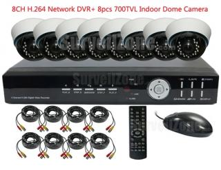 8CH H.264 Network DVR with 8 Indoor 700tvl IR Dome Video Cameras System