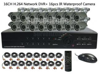 16CH H.264 Network DVR with 16X Waterproof IR Cameras System