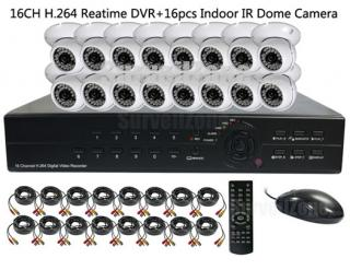 16CH H.264 Network DVR with 16X Indoor IR Dome Cameras System