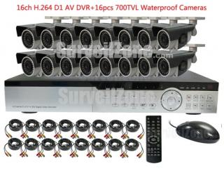 16CH D1 H.264 DVR & 16X Outdoor High-res 700TVL IR Camera System