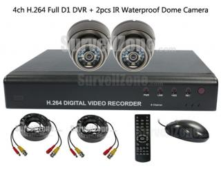 Full D1 H.264 Network 4CH DVR with 2X Outdoor IR Dome Camera System