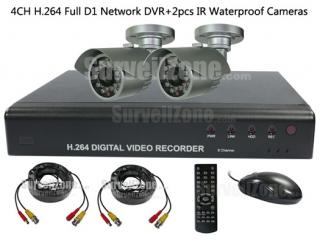4CH Full D1 H.264 DVR 2X Outdoor Dome IR 20m Camera Security System