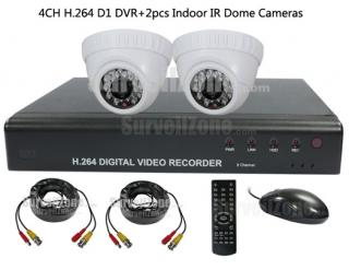4CH Full D1 H.264 Network DVR with 2X Indoor IR Dome Camera System