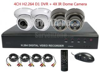 H.264 D1 4CH Video DVR 2X Outdoor & 2X Indoor IR Dome Camera System