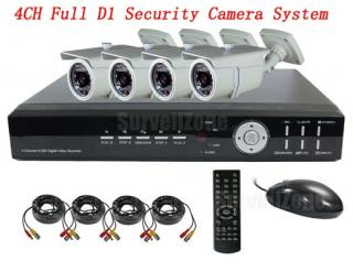 4CH D1 H.264 Network DVR 4 CCTV Outdoor IR Camera Security System