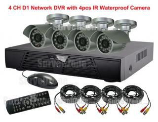 4CH D1 Network DVR Waterproof IR Camera System Cloud P2P Remote View