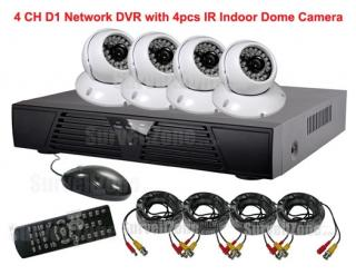 4CH D1 Network DVR 4pcs CMOS Indoor IR Cameras System with Cloud P2P Remote View