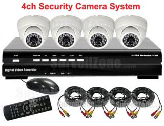 4CH D1 Network DVR 4pcs IR Camera System IPhone Remote View